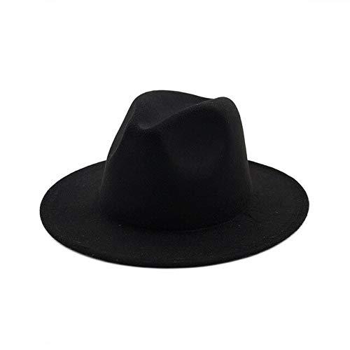 Otoño Invierno Mujer Sombrero de Fieltro Sombreros de ala Grande para Mujeres Estilo británico Vintage Iglesia Sombreros señora ala Plana Sombreros-a9-56-58cm