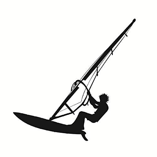 Surf Windsurf Calcomanías De Pared Vinilo Negro Autoadhesivo Deportes De Mar Amantes Del Windsurf Niños Niños Adolescentes Habitación Decoración De La Pared Pegatinas 59X59Cm