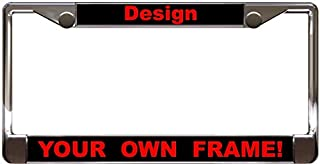 Custom Personalized Chrome Metal Car License Plate Frame with Free caps - Black/Red