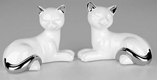 Formano Deko-Figur Katze liegend Weiss-Silber sort. 18x14cm aus Weiss-glasierter Keramik mit silbernen Elementen veredelt - bei Motivwunsch Bitte vorher melden sonst Wird eine von beiden geliefert -