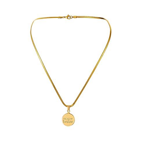 nice cheng Placa Redonda De Acero Inoxidable Letra You Are Mysunshine Colgante Simple Collar Chapado En Oro De Acero De Titanio