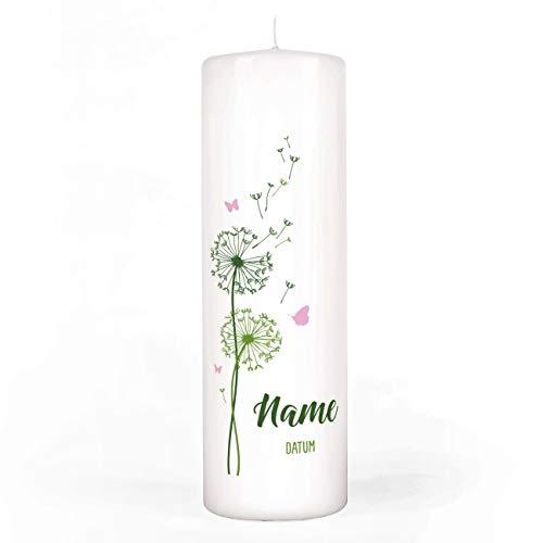 Striefchen® Kerze zur Taufe/Kommunion/Konfirmation mit Pusteblume und Schmetterlingen Namen u. Taufdatum sowie eigenen Spruch 8x25 cm