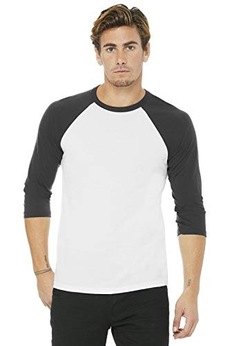 Triblend 3/4 Sleeve Baseball T-Shirt - Farbe: White/Asphalt (Solid) - Größe: XXL
