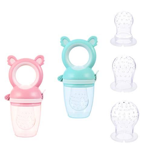 SUSSURRO 2 Stück Fruchtsauger Baby Kleinkind Fruchtsauger Schnuller Beißring 3 Größen Silikon Schätzchen Schnuller für Obst und Gemüse Brei Beikost, BPA frei