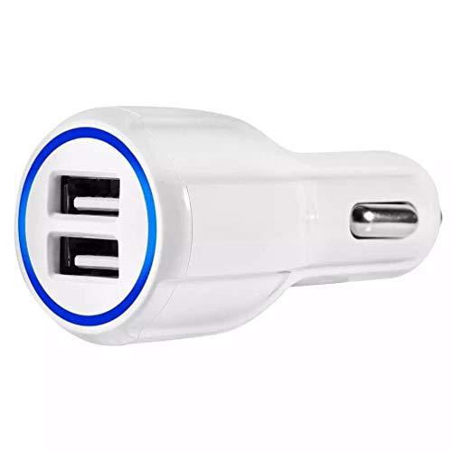 HehiFRlark Cargador rápido del teléfono del Coche de la Forma del halo del Material ignífugo de la PC Qc3.0 del USB Doble Blanco