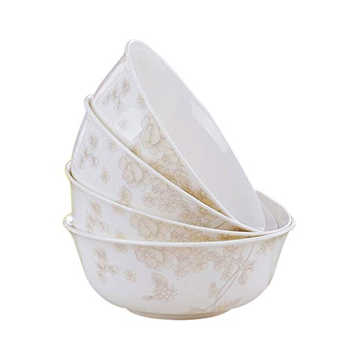 Bol En Porcelaine Céramique 6 Pouces Bone China Big Soupe Nouilles De Riz Bol (4 Pack) Four À Micro-ondes