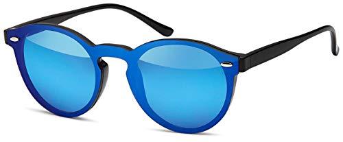 styleBREAKER gafas de sol con un solo cristal con lentes planas y patillas de plástico, lentes redondas, unisex 09020081, color:Marco negro / vidrio azul