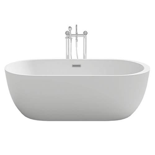 Home Deluxe - freistehende Design Badewanne - Codo weiß - Maße: ca. 170 x 80 x 58 cm - Füllmenge: 204 Liter - Inkl. komplettem Zubehör
