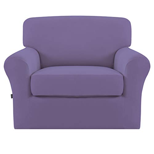 Easy-Going 2 Pieces Microfiber Stretch Couch Slipcover – Spandex Soft Fitted Sofa Couch Cover, Washable Furniture Protector with Elastic Bottom for Kids,Pet (Chair,Purple)