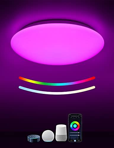 WIFI Plafón de Techo 18W, Tasmor Plafón LED Inteligente Compatible con Alexa, Google Home y APP, Lámpara Led Techo con Luz Regulable 2700-6500k RGB, Luz de Techo para Cocina Cuarto Pasillo Sala