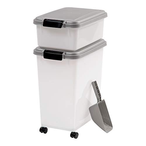 IRIS USA 3Piece Airtight Pet Food Container Combo, Gray, Chrome/Pearl MP-8/MP-1/SCP-2