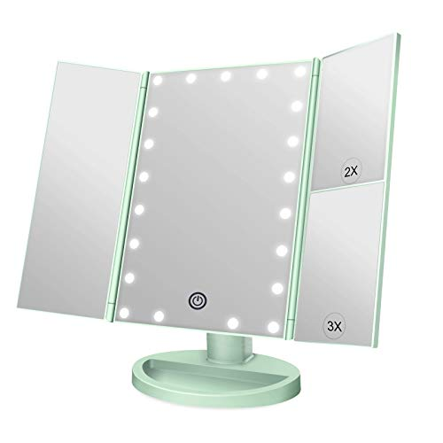 WEILY Espejo de Maquillaje Iluminado Espejo de la vanidad con la ampliación 1X / 2X / 3X, Noches Naturales del LED, Pantalla táctil, Espejo cargable (Verde)