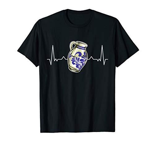 Bembel Herzschlag Apfelwein Äppelwoi Äppler Geschenk T-Shirt