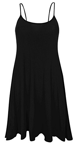 Plus Size Womens Printed Strappy Sleeveless Ladies Mini Dress Vest Top - 16-26 (24-26, Plain Black)