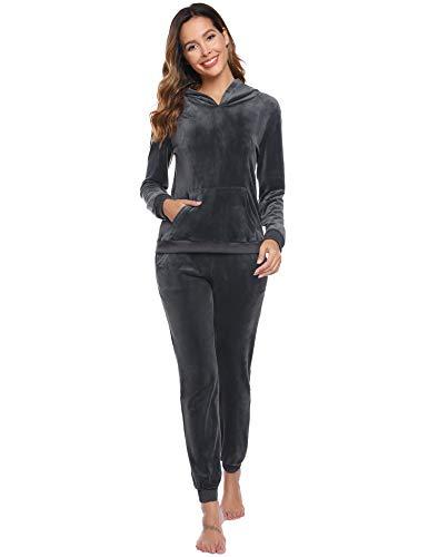 Abollria Damen Hausanzug Samt Velour Traingingsanzug Jogginganzug mit Taschen Freizeit Flauschig Zweiteiler Set Hoodie+Sporthose,GrauXS