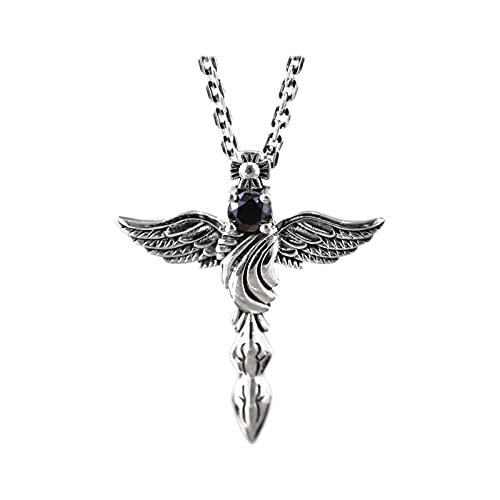 MINGDIAN S925 Plata de Ley Tendencia Personalidad ala de ángel Colgante de Plumas Hombres y Mujeres Moda suéter Cadena Cruz Colgante joyería de Plata