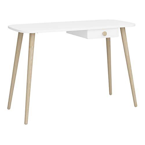 Steens GAIA biurko dla dzieci i młodzieży, 110 x 74 x 50 cm (szer./wys./głęb.), drewno MDF w kolorze białym, rama z prawdziwego drewna, bardzo wytrzymałe