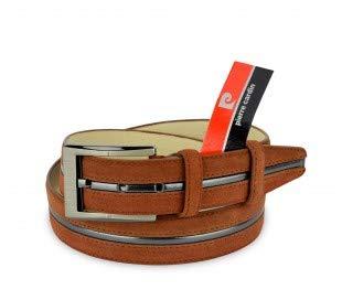 R003 Cinturon ajustable de hombre Pierre Cardin en cuero agamuzado - Marrón, 125cm