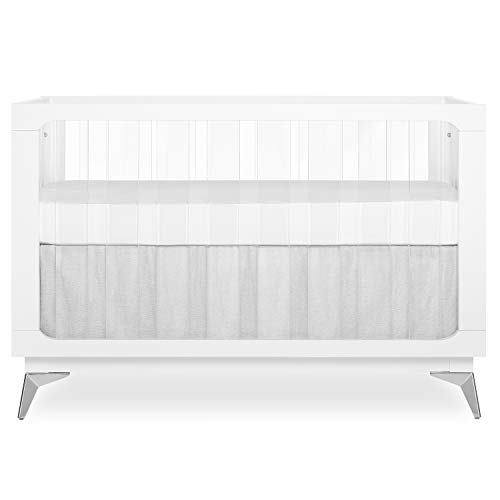 Evolur Acrylic Millennium 4-in-1 Convertible Crib I Modern Full Size Crib I Baby Crib I Easily Coverts to Toddler Bed & Dayday I  Adjustable Mattress Support Base I Acrylic Slats I in White to Reflect