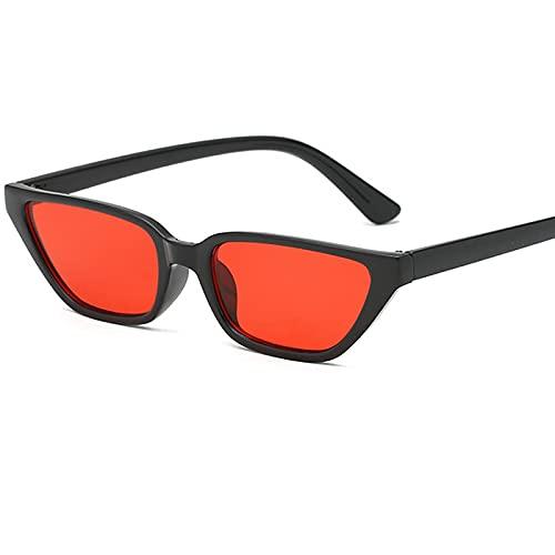 ShZyywrl Gafas De Sol De Moda Unisex Gafas De Sol De Ojo De Gato Vintage para Mujer, Gafas De Sol De Montura Pequeña con Personalidad, Lentes Transparentes Roj