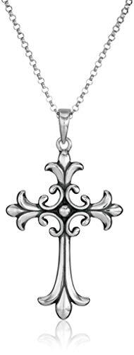 "Sterling Silver Oxidized Celtic Cross Pendant Necklace, 18"""