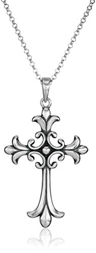 Sterling Silver Oxidized Celtic Cross Pendant Necklace, 18'