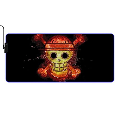 One Piece 215 Large RGB Gaming Anime Mouse Pad,Oversized Glowing led Mouse pad Gaming Mousepad,9 Lighting Modes,Non-Slip Rubber Base Computer Keyboard pad Mousepads 90400.3cm