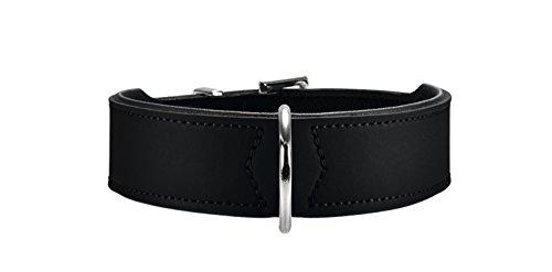 HUNTER BASIC Hundehalsband, beschichtetes Spaltleder, Kunstleder, schlicht, robust, witterungsbeständig, 55 (M), schwarz