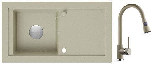 Granitspüle Beige 89 x 49,5 cm, Spülbecken + Küchenarmatur + Siphon Klassisch + Abflussdeckel + Spender, Küchenspüle ab 60er Unterschrank, Einbauspüle von Primagran