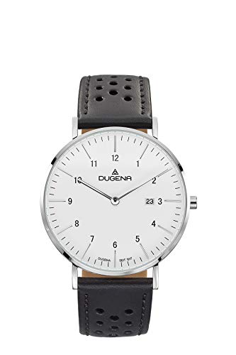 Dugena Herren Quarz-Armbanduhr, Saphirglas, Lederarmband, Edelstahlgehäuse, Manhattan, Silber/Schwarz/Weiß, 4460896