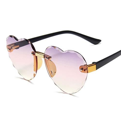 QSMIANA Gafas de sol Gafas De Sol De Marco Sin Montura Del Corazón Lente Gris Moda Moda Girls Uv400