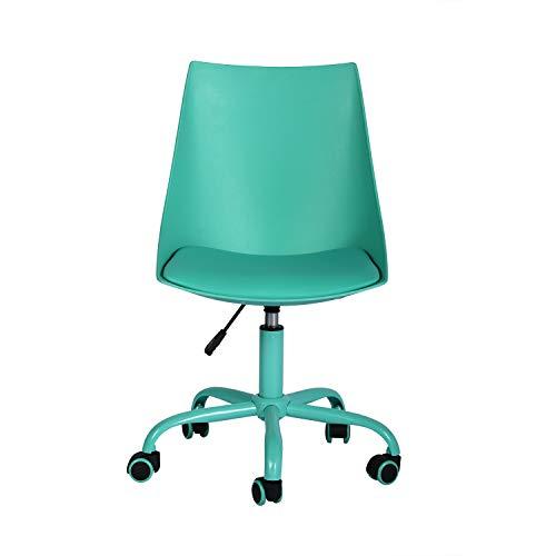 Silla de oficina ergonómica y moderna, giratoria, para casa, oficina, taburete de trabajo con respaldo medio y ruedas de poliuretano del mismo color, taburete de oficina sin brazos, color verde 🔥