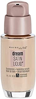 Maybelline Dream Satin Liquid Foundation, Natural Beige [75] 1 oz (Pack of 2)