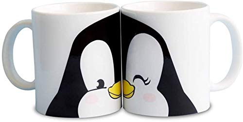 FUNNY CUP 2 Tazas Parejas de pinguinos Enamorados. Románticas Tazas en Conjunto para Regalo.