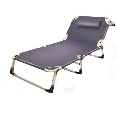 XCXDX Sillón reclinable Plegable, Silla de Playa con Tumbona Simple Ajustable Individual, Tubo Plano Gris de 68 cm ensanchado, con Almohadilla de algodón Perlado Engrosada