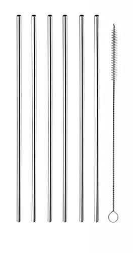 Pintinox Set 6 Cannucce in Acciaio Inossidabile con Spazzolino lunghezza 21 cm, diametro 5 mm