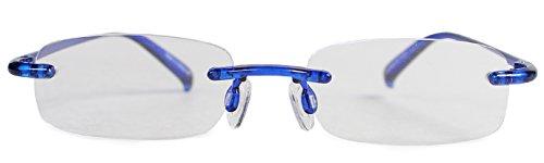 エニックス 老眼鏡 +1.0 度数 縁なし 超弾性フレーム ブルー EACRI23-10