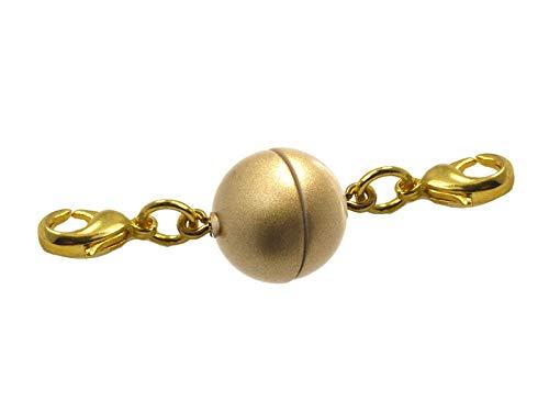 Magneetsluiting voor kettingen, kogels, rond 12 mm 3 stuks met 2 roestvrijstalen karabijnhaken goud mat voor achteraf invoegen in halskettingen en sieraden