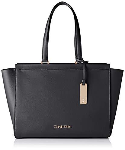 Calvin Klein Damen Enfold Shopper Umhängetasche, Schwarz (Black), 32x48x14cm