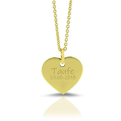 333 /- Gold Kette Taufschmuck Herz mit Gravur Gelbgold Namenskette Schmuck zur Taufe Gravur moderne Taufkette aus Gold mit Namen Geburt Heilige Taufe Taufgeschenk Mädchen Goldherz