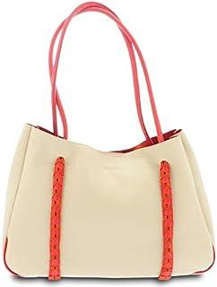 GIUDI ® - Borsa Donna in pelle vitello, vera pelle, borsa a spalla, Made in Italy. (Beige/Rosso chiaro)