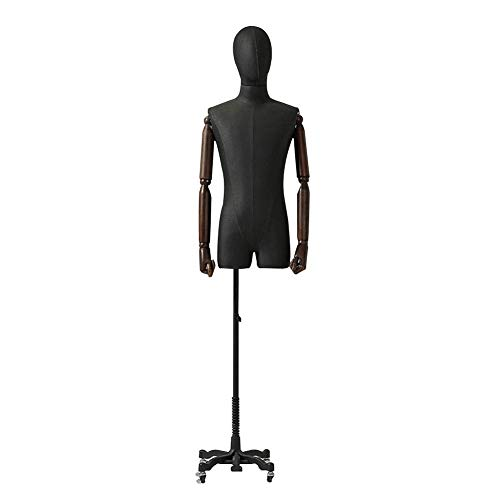 AJZGF Maniqui de Costura sastres Masculinos Negros maniquí Torso, la Cabeza Brazo Busto Modelo de Estructura Corporal, Lanzador maniqui Mujer