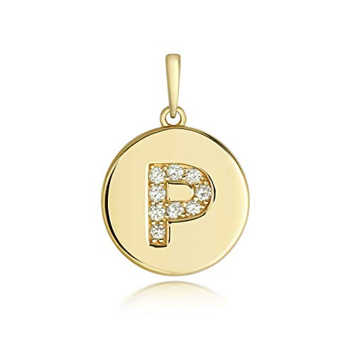 J R Jewellery Diamond Initial P Pendant Yellow Gold Ladies Hallmarked All Chain Lengths Boxed