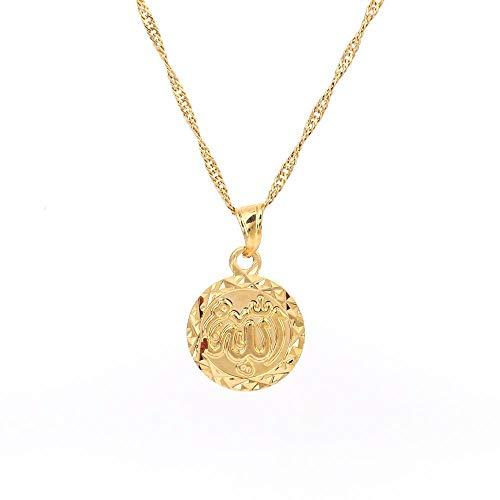 YHHZW Collar de color dorado Allah Collar Islam árabe musulmán de Oriente Medio Cadena de joyería