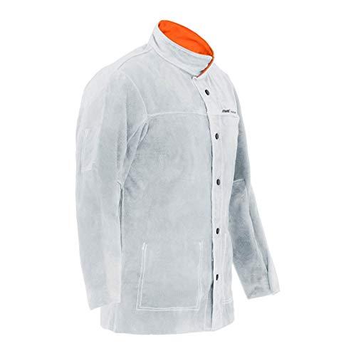Stamos Welding Group Giacca in Pelle per Saldatore Giacca Protettiva per Saldatura SWJ03XL (Taglia XL, Argento, Crosta di Pelle Bovina)