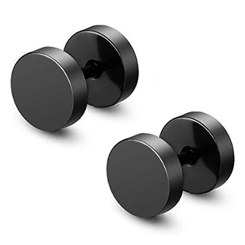 JZZJ 2x Uomo Donna 6mm 8mm 18g Orecchini a bottone in acciaio inossidabile nero lucido Taper Plugs Tunnel Double Side(-)