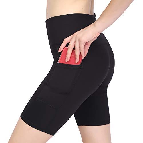 GIEADUN Pantalón Corto Deportivo para Mujer, Running Pantalones Cortos de Yoga Leggings con Bolsillo Lateral, Fitness Mallas Deportivas (Negro Oscuro, Medium)