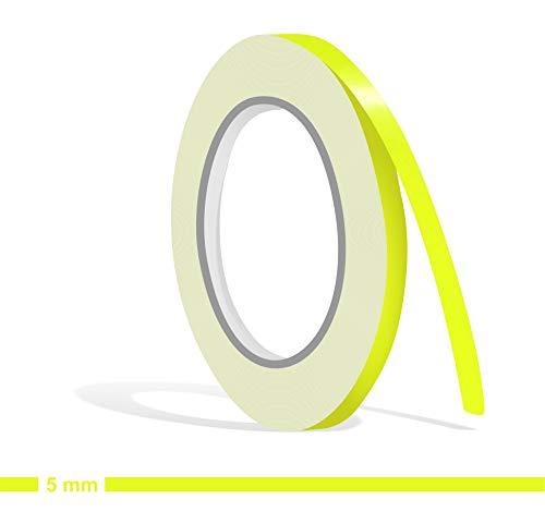 Siviwonder Zierstreifen neon gelb Neongelb Leuchtend Glanz in 5 mm Breite und 10 m Länge Aufkleber Folie für Auto Boot Jetski Modellbau Klebeband Dekorstreifen - fluoreszierend grell leuchtgelb