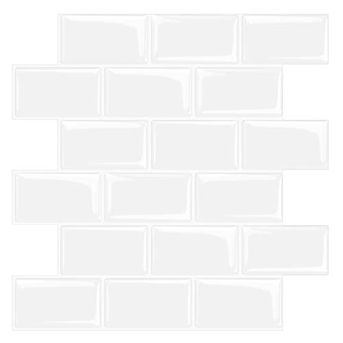 STICKGOO - Adhesivo de Metro Blanco Engrosado para Azulejos, Adhesivos autoadhesivos para Azulejos, Adhesivos Decorativos Impermeables para Azulejos para Cocina y baño, 30,5 cm * 30,5 cm (10 Piezas)…