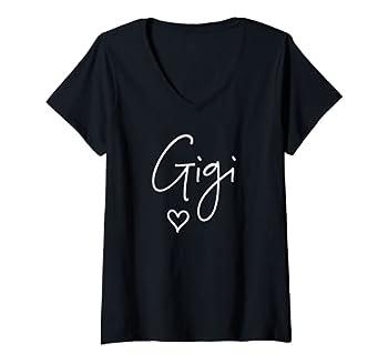Womens Gigi T-Shirts For Grandma Name Gigi Gift For Mother s Day V-Neck T-Shirt